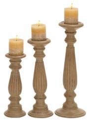 Mango Wood Candle Holders, Set of 3
