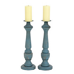 Distressed Blue Iron Candle Holders, Set of 2