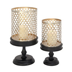 Quatrefoil Metal and Wood Candle Holders, Set of 2