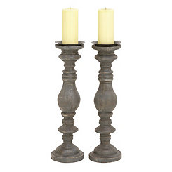Distressed Black Iron Candle Holders, Set of 2