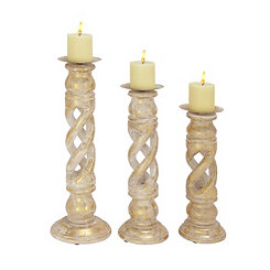 Gray and Gold Candle Holders, Set of 3