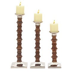 Mahogany and Silver Candle Holders, Set of 3