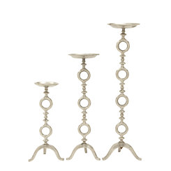 Silver Rings Candle Holders, Set of 3