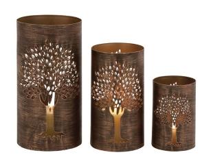 Bronze Metal Tree Hurricanes, Set of 3