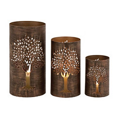 Bronze Metal Tree Hurricanes, Set of 3