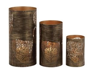 Bronze Metal Leaf Hurricanes, Set of 3