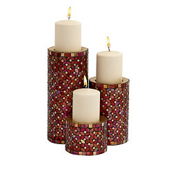 Red Mosaic Metal Candle Holders, Set of 3
