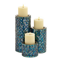 Blue Mosaic Metal Candle Holders, Set of 3