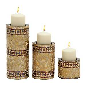 Gold Glass Mosaic Metal Candle Holders, Set of 3