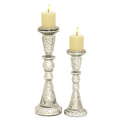 Silver Spatter Candle Holders, Set of 2