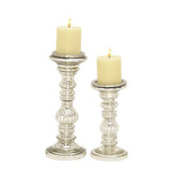 Silver Fluted Glass Candle Holders, Set of 2