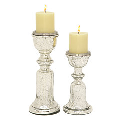 Bell Taper Silver Glass Candle Holders, Set of 2
