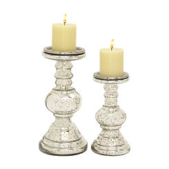 Tapered Dome Silver Glass Candle Holders, Set of 2