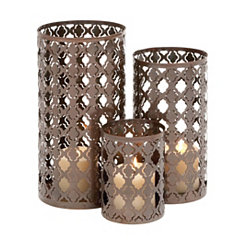 Bronze Metal Quatrefoil Hurricanes, Set of 3