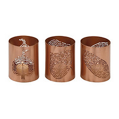 Copper Leaf Votive Hurricanes, Set of 3