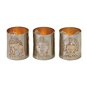 Silver Buddha Votive Hurricanes, Set of 3