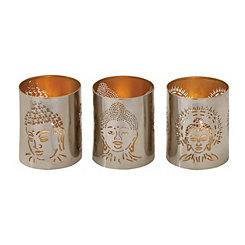 Silver Buddha Votive Hurricanes, Set of 3
