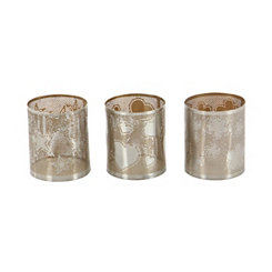Silver Shapes Votive Hurricanes, Set of 3