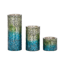 Blue and Green Mosaic Candle Holders, Set of 3
