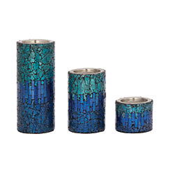 Blue Ombre Mosaic Candle Holders, Set of 3