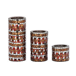 Maroon and Gold Mosaic Candle Holders, Set of 3