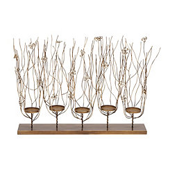 Floral Polished Metal Candle Runner