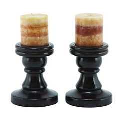 Mahogany Candle Holders 6 in., Set of 2