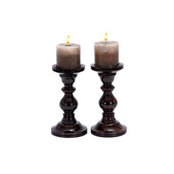 Mahogany Candle Holders 9 in., Set of 2