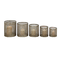 Silver Lattice Metal Candle Holders, Set of 5