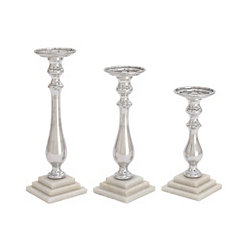 Silver and Marble Candle Holders, Set of 3
