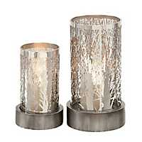 Metallic Silver Tree Candle Holders, Set of 2