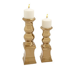 Gold Bubble Candle Holders, Set of 2