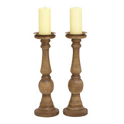 Natural Wood Candle Holders, Set of 2
