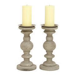 Weathered Gray Candle Holders, Set of 2