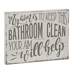 Keep This Bathroom Clean Wooden Word Block