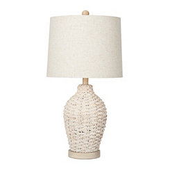 Cream Coastal Rattan Table Lamp