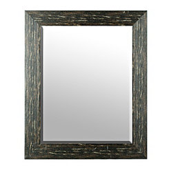 Distressed Woodgrain Wall Mirror