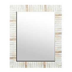Stacked Faux Wood Plank Wall Mirror