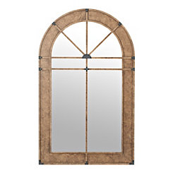 Natural Wood Chalet Arch Wall Mirror