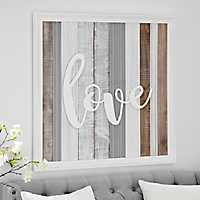 Love Washed Planks Wooden Wall Plaque