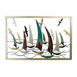 Sailboat Regatta Framed Metal Wall Plaque