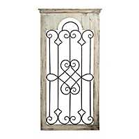 Ornate Scroll Wood and Metal Wall Plaque