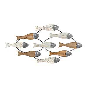 School of Fish Wood and Metal Wall Plaque