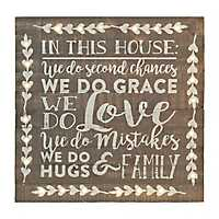 In This House Gray Pre-Lit Wall Plaque