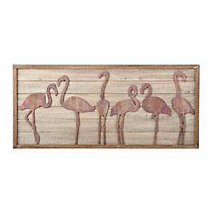 Pink Flamingo Wooden Wall Plaque