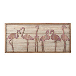 pink flamingo wooden wall plaque - Coastal Wall Decor