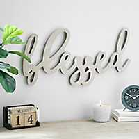 Blessed Script Word Art Natural Wood Plaque