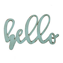 Blue Distressed Hello Wooden Script Plaque