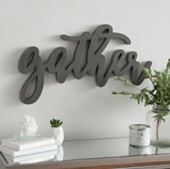 Gray Distressed Gather Wooden Script Plaque