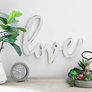 White Distressed Love Wooden Script Plaque